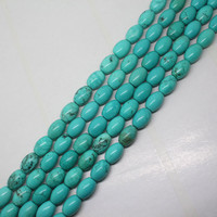 Mini Order Is 7 8x12mm Natural Turquoise Drum Bead Oval DIY Barrel Beads 15