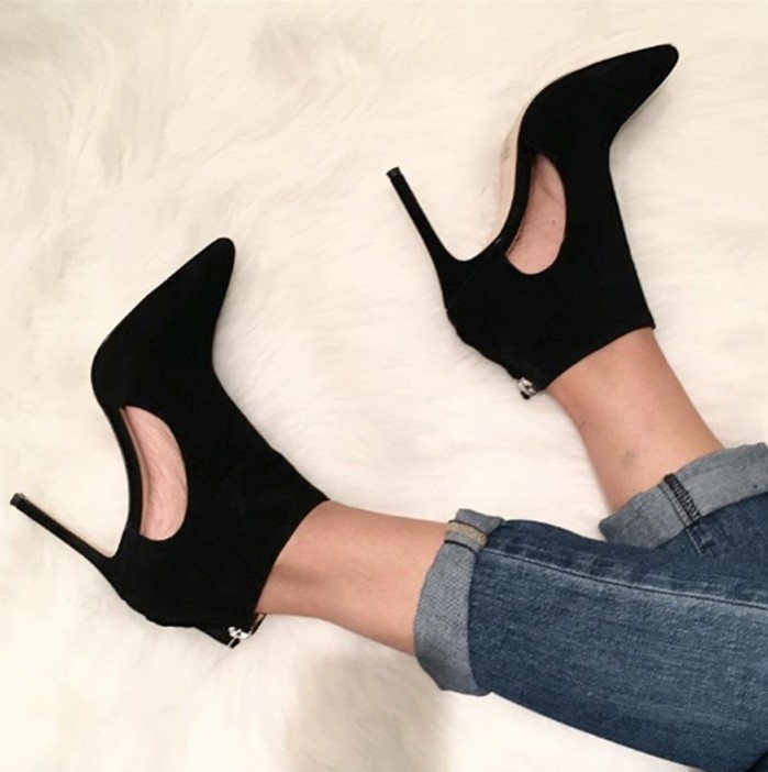 Hot selling pointed toe woman boots black suede cut-outs high heel boots back zip ankle boots summer sandal bootsHot selling pointed toe woman boots black suede cut-outs high heel boots back zip ankle boots summer sandal boots