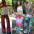 New Women's Lady Summer Beach Sexy Vogue Fashion Strip Harem Long Women's Trousers Pink/Green/Red