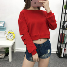 2017 Sexy Women's hoodies cotton casual long sleeve pullovers loose cool fashion Holes ladies short sweatshirts crop tops