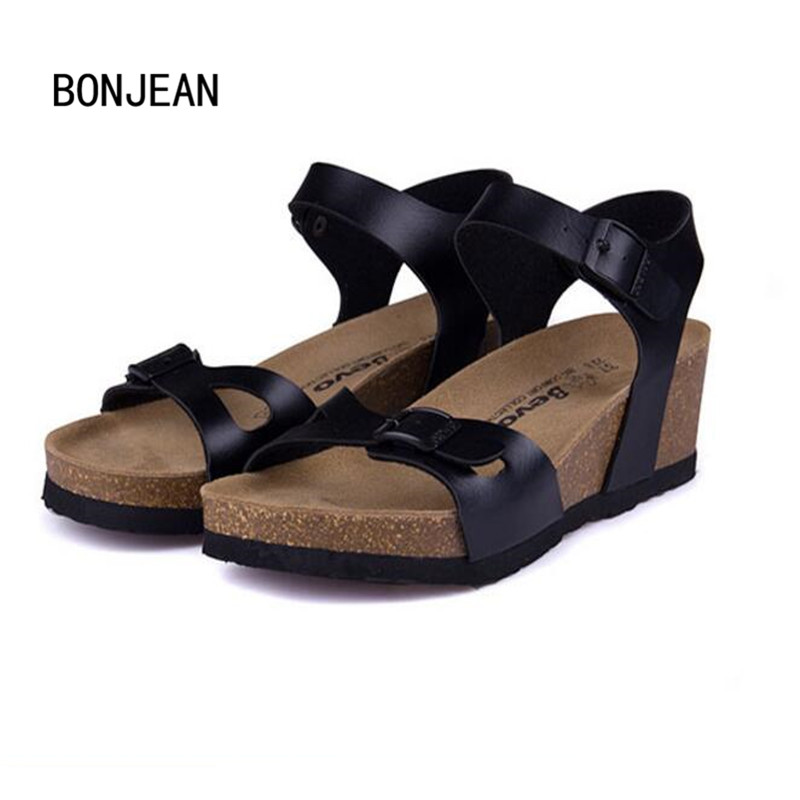 New Fashion Women Sandals Cork Shoes Beach Shoes Gladiator Wedges Summer High Heels Zapatos Mujer Sandalias Plus Size 35-40 2017 summer new rivet wedges sandals creepers women high heel platform casual shoes silver women gladiator sandals zapatos mujer