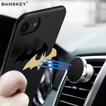 Banskey fer Bat voiture support pour téléphone fonction étui pour iphone 6 6 S Adsorption aimant dur Gossamer couverture pour Apple iphone 7 8 7 Plus