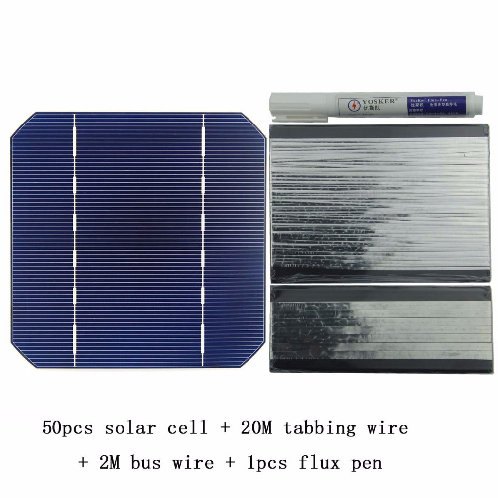 50Pcs Monocrystall Solar Cell 5x5 With 20M Tabbing Wire 2M Busbar Wire and 1Pcs Flux Pen diy solar panel 270w 100pcs monocrystall solar cell 5x5 with 60m tabbing wire 6m busbar wire and 3pcs flux pen
