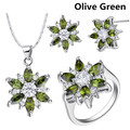Fashion flower women costume 925 silver simulated gemstone austrian crystal jewelry sets ring necklace earrings set of jewels