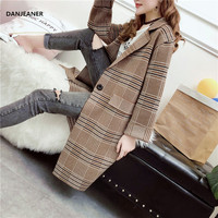 Danjeaner Classic England Style Plaid Wool Knitted Sweaters Coats Autumn Winter Thick Long Jackets and Blazers Women Jumper Pull