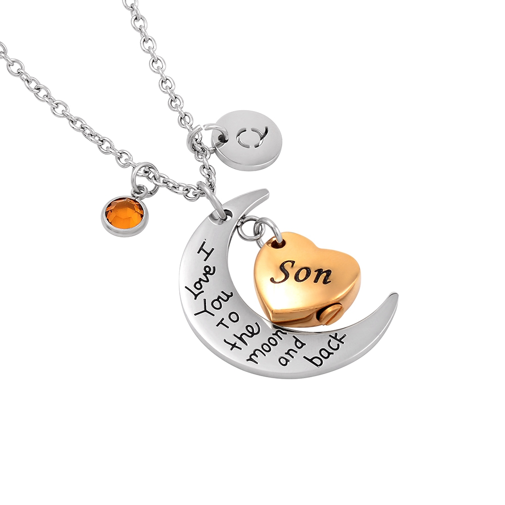 Bulk Cremation Jewelry I Love You To The Moon And Back Son Cremation Urn Necklace