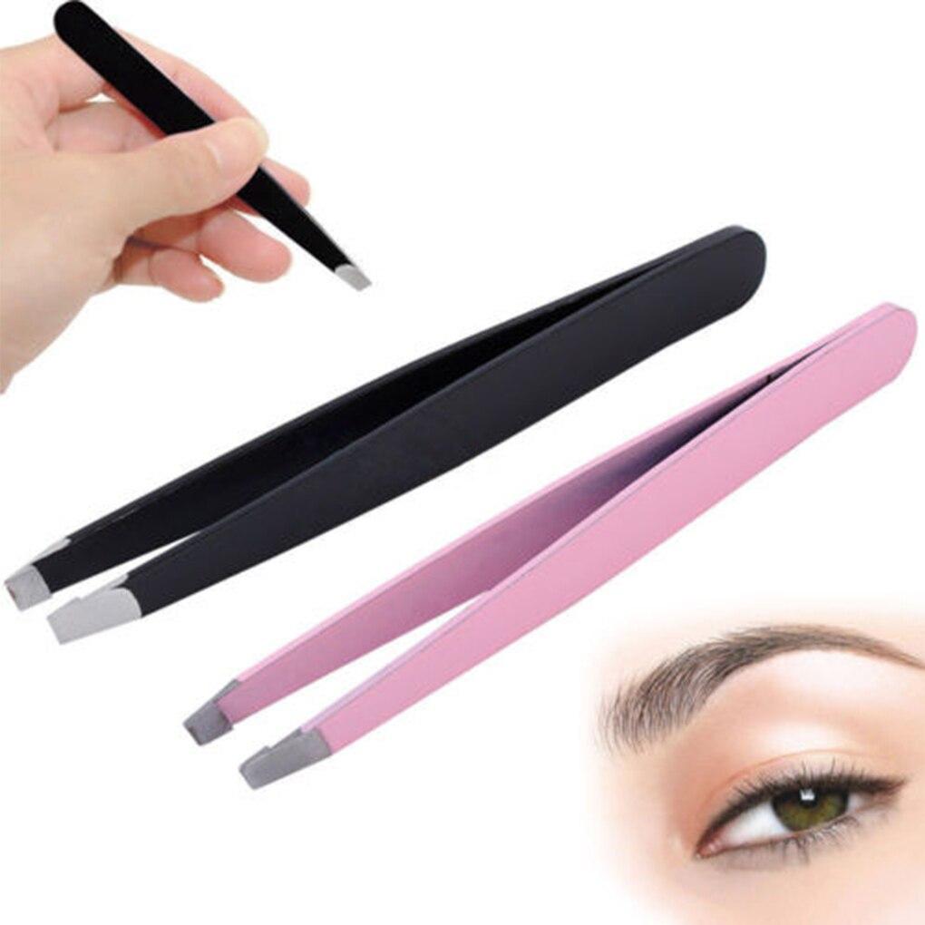 Image 2 - HOT SALE  Beauty Stainless Steel Slant Tip Eyebrow Tweezer Hair Facial Remover Makeup Tool-in Eyebrow Tweezers from Beauty & Health