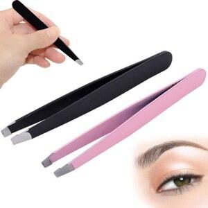 Image 2 - Offre spéciale beauté en acier inoxydable pointe inclinée sourcil pince à épiler