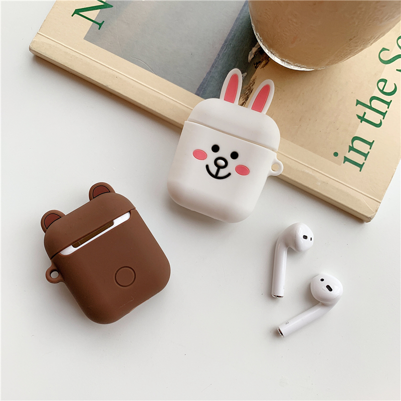 Silicone Case for Airpods Accessories for i10 TWS Bluetooth Earphone Protective Cover Bag Anti-lost Strap Cute Cartoon bear DIY5