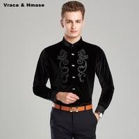 Autumn and winter Plus velvet thick quality pleuche stand collar men shirt Korean style fashion casual long sleeve shirt M XXXL