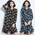 Plus Size 2017 Spring Summer Women Fashion Elegant Cactus Print Long Sleeve Tops Ladies Female Big Peplum Ruffle Blouse Dress