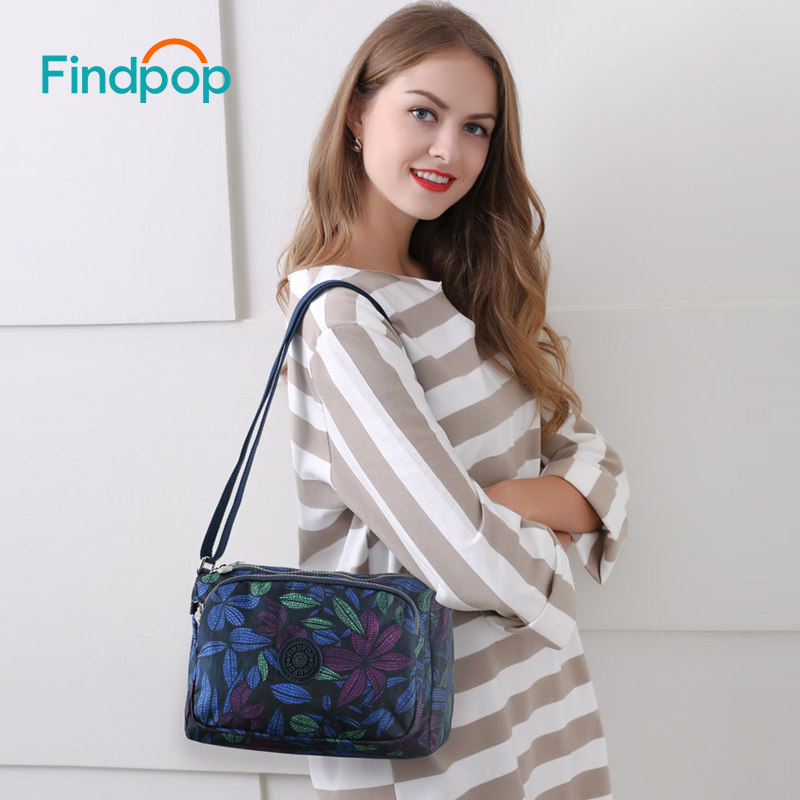 Findpop Brand Shoulder Bags For Women 2018 Fashion Casual Floral Printing Women Crossbody Bags Large Capacity Nylon Shoulder Bag stylish floral off the shoulder blouse for women