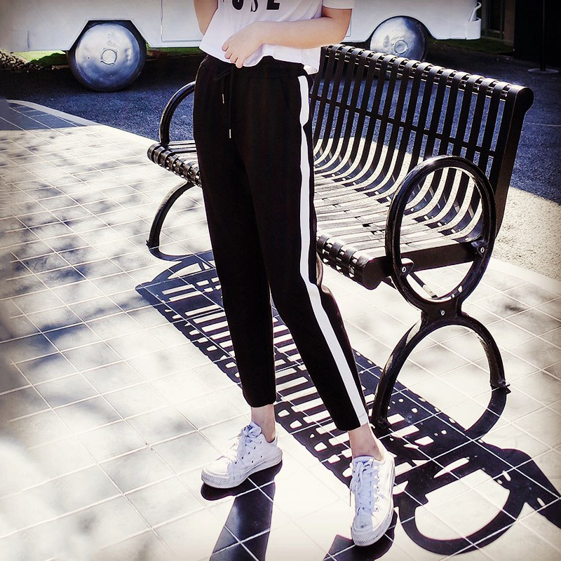 Jeseca white striped casual loose pants New thin Harlan pants female Korean hip-hop carrot pants nine points summer