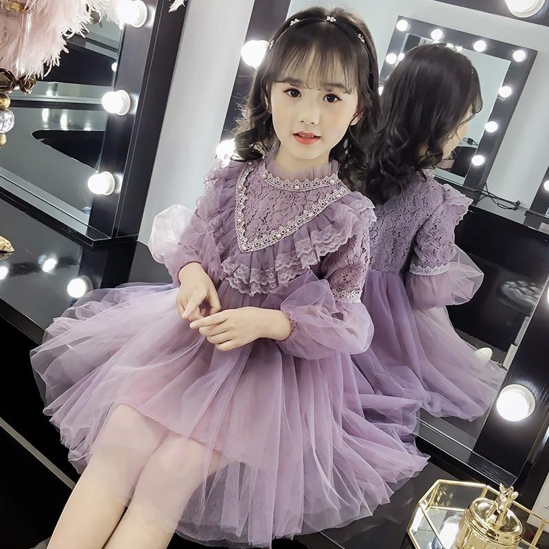 Girl Clothing Dress Spring 2019 Children Lace Gauze Princess Party Dress Elegant Kids Dresses for Girls Lolita Vestido GDR559