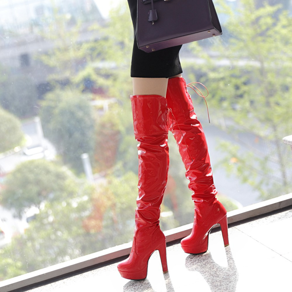 06f3bcf51d1 204 fashion super sexy Pole dancing over the knee boots ladies fashion  patent leather Thigh boots high heel boots big size 34 43-in Over-the-Knee  Boots from ...