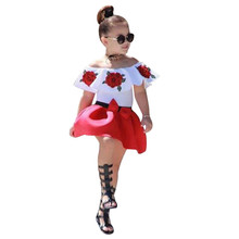 Summer Fashion Toddler Baby Girls Clothes Sleeveless Off Shoulder Embroidery Rose Tops+Skirts Outfits Set