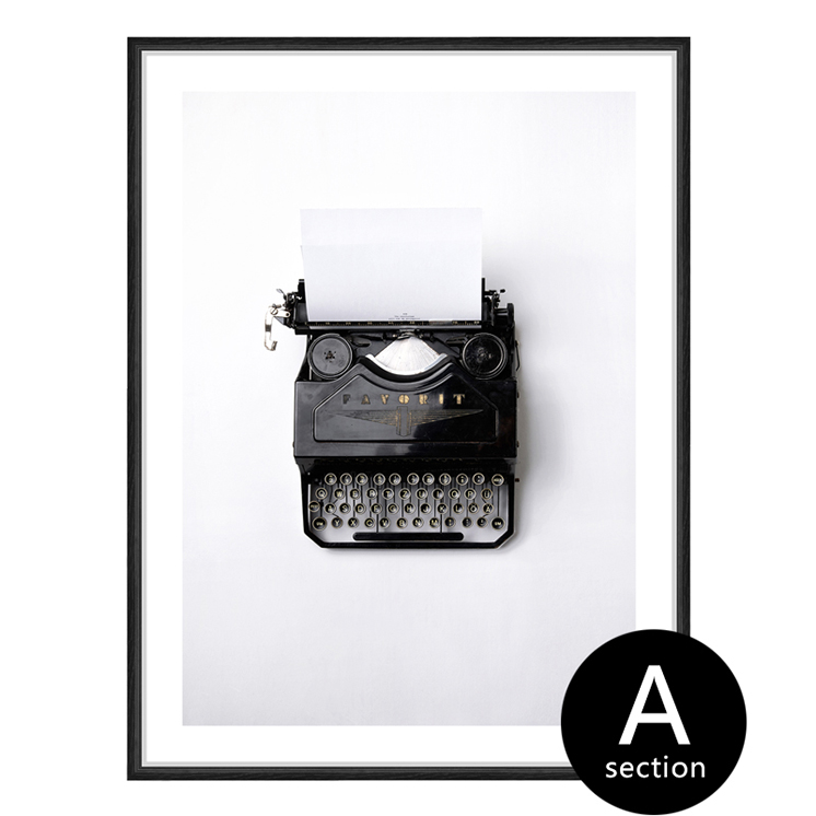 Retro still life black and white nordic poster and prints typewriter camera  modern Home Decoration canvas wall art living room