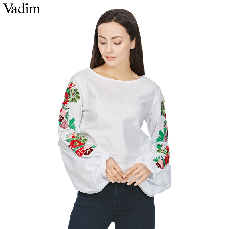 Vadim sweet floral embroidery white shirts lantern sleeve back bow tie  blouses ladies summer casual brand