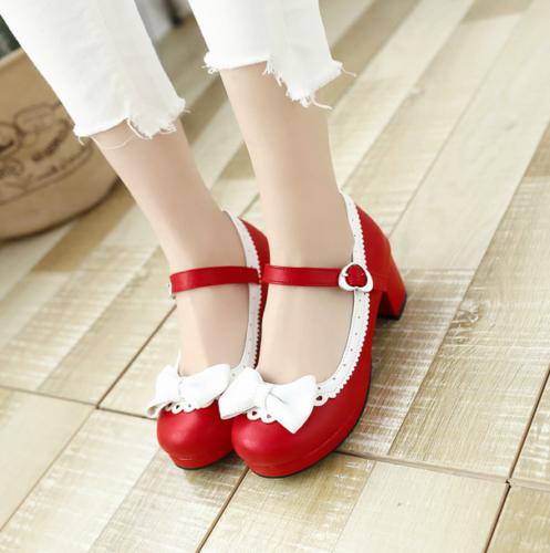 Sweet Women's Lolita Mid Heel Round Toe Bowknot Strappy Kawaii Cosplay Shoes Black Pink Red Purple Belt Buckle