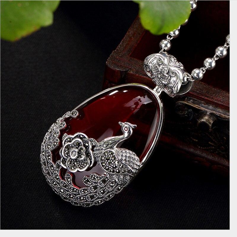 Uglyless réel 925 argent Sterling naturel calcédoine pendentif sans collier femmes rétro Phoenix Bijoux pivoine Marcasite Bijoux - 5