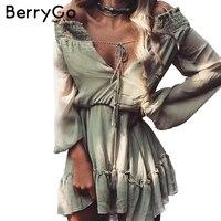 Berrygo معطلة الكتف كم طويل شاطئ الصيف فستان قصير الشيفون اللباس خمر النساء كشكش مثير اللباس vestido دي فيستا