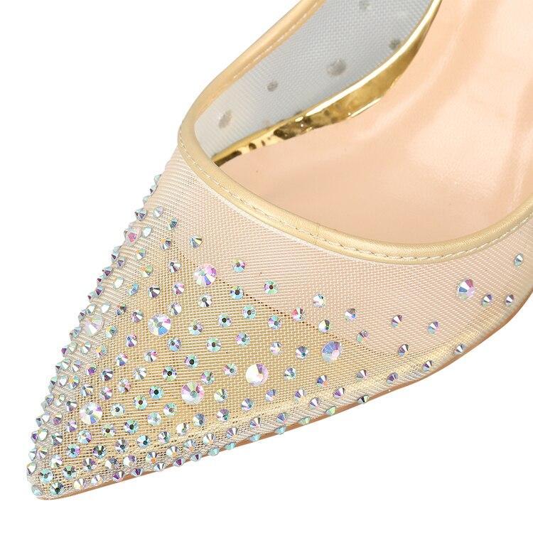 Zapatos elegantes de fiesta de boda para mujer con tacón alto de malla de cristal brillante-in Zapatos de tacón de mujer from zapatos    3