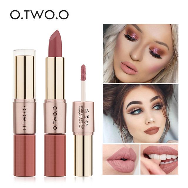 O dos O 2 en 1 mate lápiz labial impermeable Pintalabios Batom mate brillo de labios 12 colores barras de labios maquillaje cosméticos brillo de labios