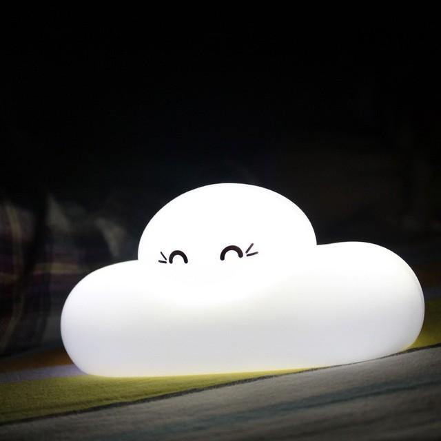 Dos desenhos animados 3D criativo luz da noite nuvem, Adorable Children nuvem Lamp USB recarregável Touch Sensor sonho almofada nuvem lâmpada luz