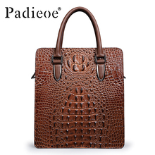 Padieoe New Design Business Men's Briefcase High Quality Genuine Cow Leather Shoulder bag Alligator Pattern male Handbags