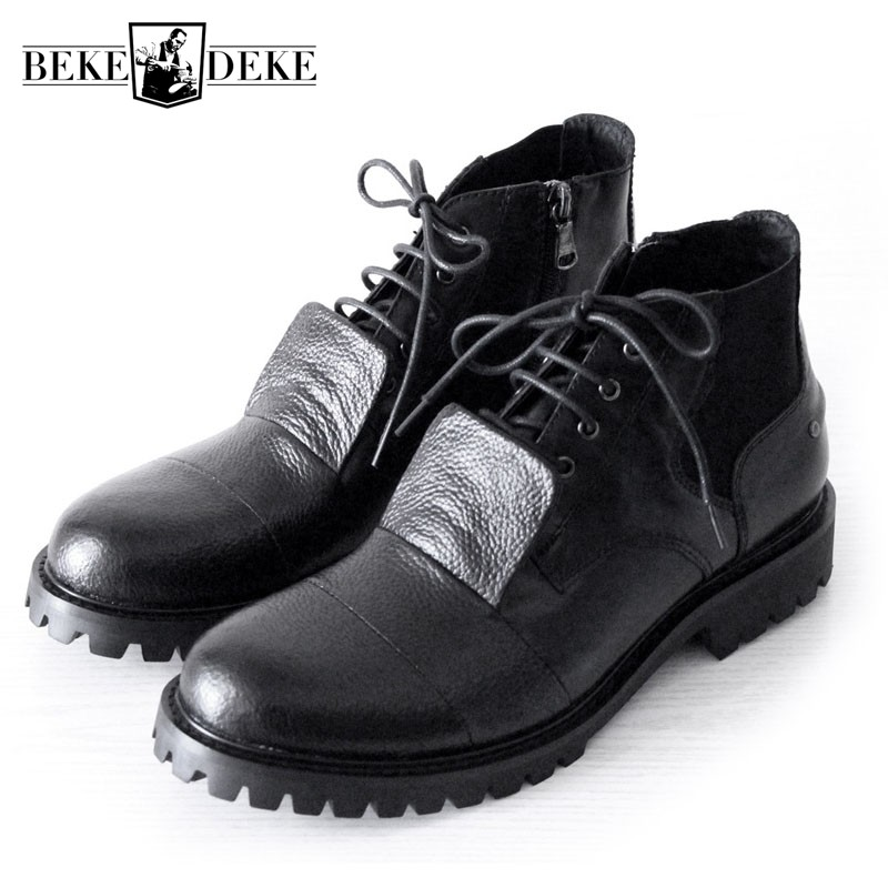 British High Street Lace Up Mens Ankle Boots Nature Leather Handmade Zipper Motorcycle Boots Gothic Punk Round Toes Safety Shoes цена