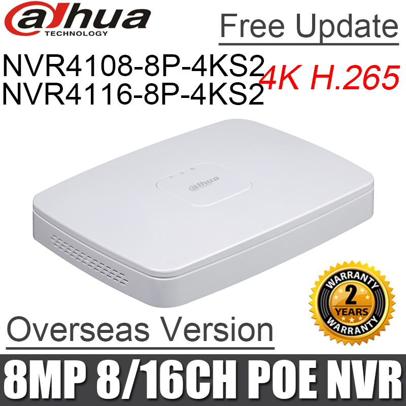Original 8MP NVR4108 8P 4ks2 NVR4116 8P 4ks2 8ch 16ch mini NVR 8 poe port DH