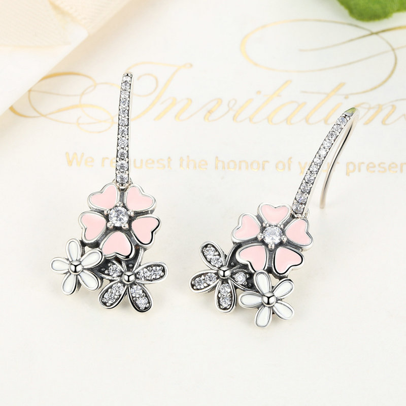 NEW 925 Sterling Silver Pink Enamel Flower Poetic Daisy Cherry Blossom Drop Earrings Compatible with pan jewelery Earring