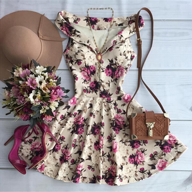Cute Floral Print Summer Dress
