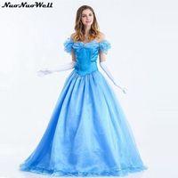 נסיכת שלגיה מלכת קוספליי למבוגרים ליל כל הקדושים קרנבל כחול לבן שלג ארוך נסיכה להתחפש