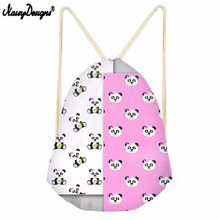 NOISYDESIGNS Cute Panda Printing Cartoong Drawstring Bag Girl School Bagpack Female Travel Beach Boy Storage Bags