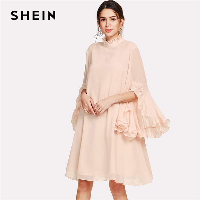 06ba38a6aa SHEIN Frill Sleeve And Cuff Flowy Dress 2018 Summer Pink Stand Collar Dress  Women Knee Length