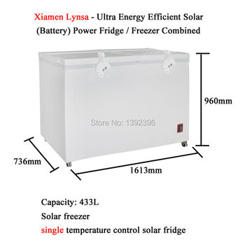 433L Solar Freezer Ultra Energy Efficient Solar Battery Powered Fridge Freezer Combined Refrigerator