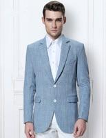 2018 Latest Coat Pant Designs Sky blue linen men suit Wedding suit men Slim fit tuxedo smart Business beach summer jacket+pants