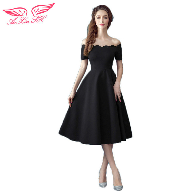 Anxin Sh Black Boat Neck Evening Dress Dinner Perform Short Princess Nightclub Little