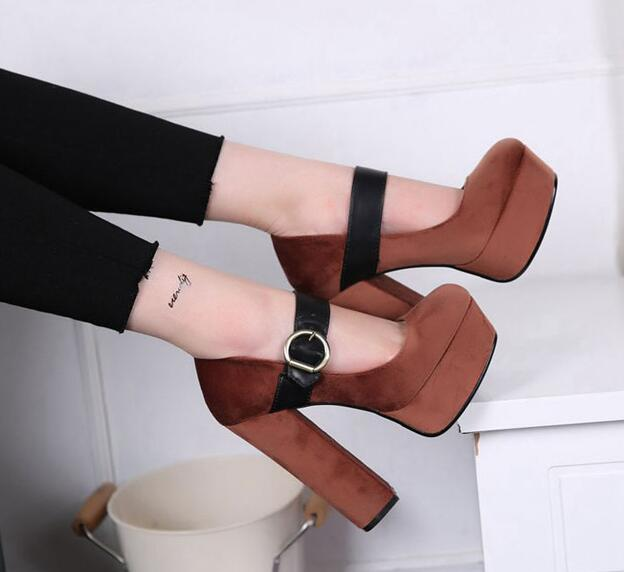 ФОТО Spring Fall Women Mary Janes Retro Platform Pump Shoes Fashion Shallow Thick High-Heeled Women Buckle Sandals Free Shipping