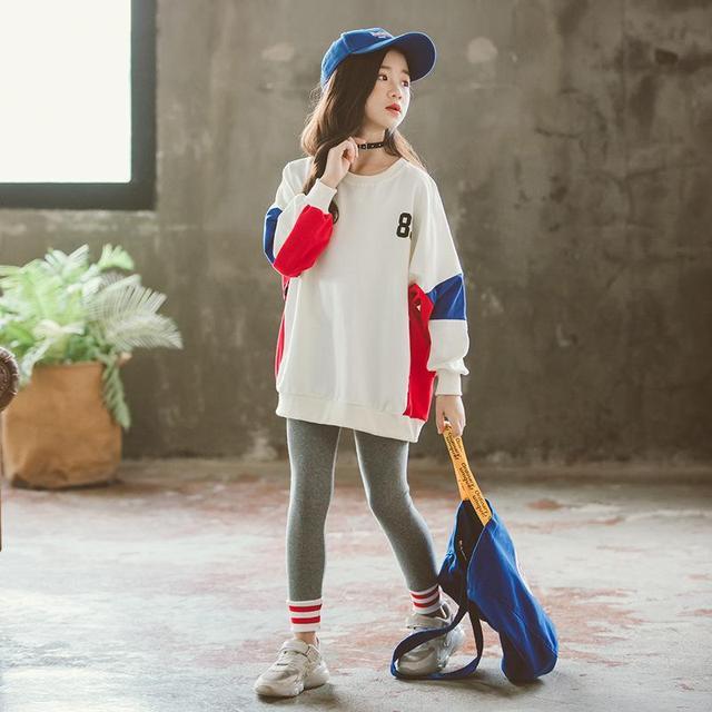 2019 New Spring Autumn Girls cause Suit Set hip hop Children Clothing Sets Kids Sportswear Big Girls Jacket & Pants 4-14 Y