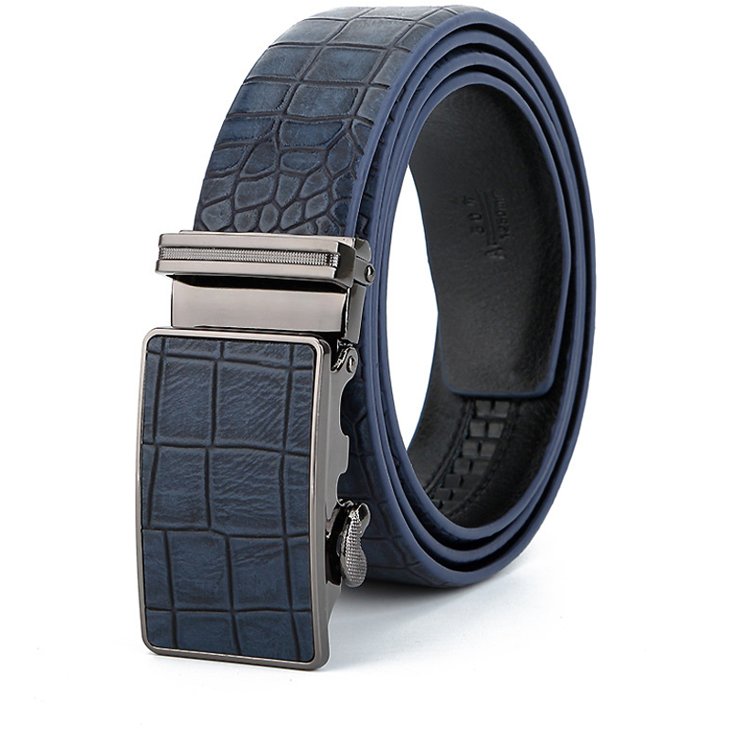 Men's casual leather   belt   , participate in wedding simple leather   belt   men , High quality automatic buckle blue   belt