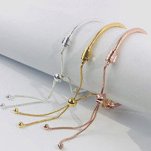 plated silver bracelet women's bracelet for my girlfriend Pull bracelet for charm beads DIY jewelry gift(China)