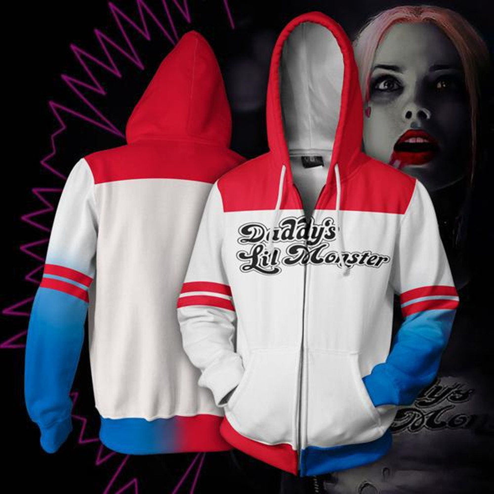 Movie Suicide Squad Harleen Quinzel Sweatshirts Costume 3D Printed Cardigan Sweater Cosplay Cartoon hooded sweater Jackets