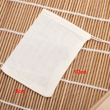10PCS Cotton Empty Teabags String Heat Seal Filter Paper Herb Tea Bags 8*10cm(China)