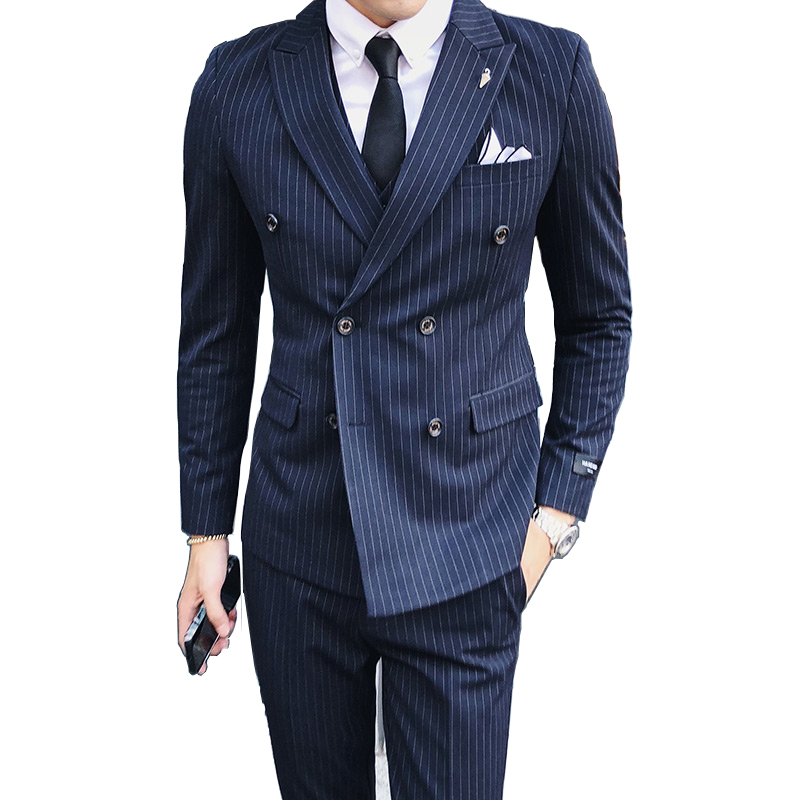 ( Jacket + Vest + Pants ) Boutique Fashion Striped Formal Mens Casual Business Double-breasted Suit / Groom Wedding Dress Suits