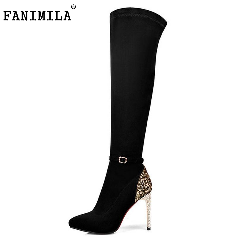 Women Boots Genuine Leather Over Knee Boots Sexy Ladies High Heel Pointed Toe Botas Winter Zipper Heeled Women Shoes Size 33-41 classic winter boots leather shoes leather high heeled boots boots side zipper rose