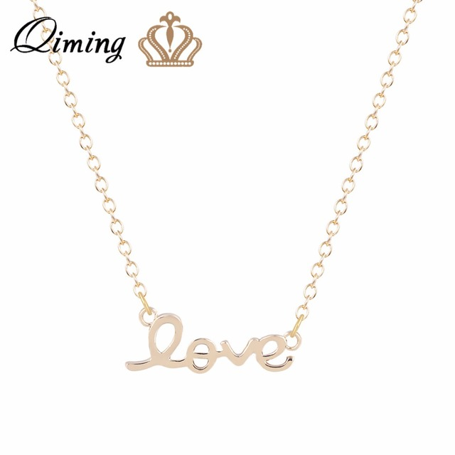 QIMING 10pcs Bridesmaid LOVE Necklace Commitment Letter Necklace for