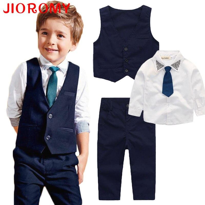 2019 Autumn New Boys Clothes Suit Vest + Shirt + Pants 3 Pcs/set Fashion Tie Gentleman Long Sleeve Kids Set Apparel JIOROMY k1