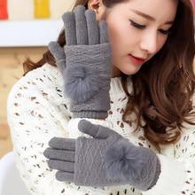 New cashmere rabbit hair ball multi-functional touch-screen gloves elegant girls winter fashion thickening warm gloves